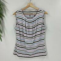 Calvin Klein Womens Pullover Draped Neck Top Size S White Stripe Jersey Shirt