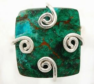 Natural  Azurite In Chrysocolla 925 Sterling Silver Ring Jewelry Sz 8.5 ED34-8