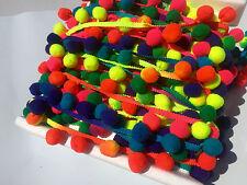 Extra Grande Borde Borla Pom Pom FLECOS - Multicolor