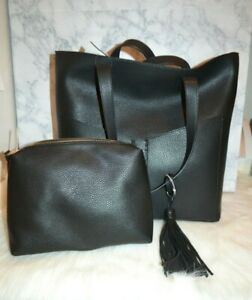NWT! Steve Madden Black Large Lou Angled Shoulder Tote & Pouch 2-in-1 RV$98