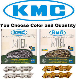 1or 2 Pak KMC X11EL 11 Speed Chain SILVER or GOLD Extra Light Open Plates Bike