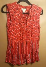 ef07b766884db Style   Co Women s sz 3X Red Printed Lace-Up Boho Sleeveless Relaxed Blouse  Top