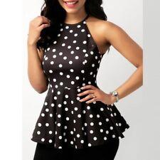 GB Moda para mujer sin mangas ocasional Cuello Redondo Estampado a Topos