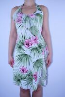 Morgan Green White Floral Dress Tropical Halterneck Summer Holiday Size 10 12 AX