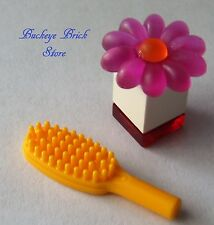 NEW Lego Minifig ORANGE HAIR BRUSH PINK FLOWER PERFUME FEMALE GIRL Hairbrush