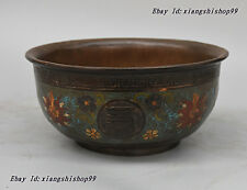 "Chinese Copper Bronze ""Wan Shou Wu Jiang"" handwork Made Enamel cloisonne Bowl"