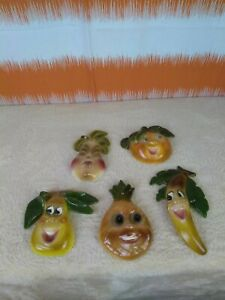 Ceramic Wall Hanging Plaques Fresh Fruits Lot Of 5