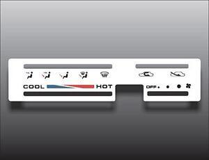 1986-1995 Suzuki Samurai Square Vent White Heater Control Switch Overlay HVAC