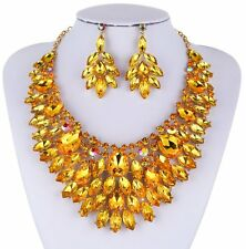 TWINKLING AUSTRIAN RHINESTONE CRYSTAL BIB NECKLACE EARRINGS SET PROM N987 GOLDEN