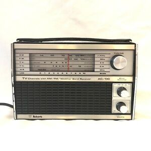 As-Is Vintage Roberts Radio Model R-1224 - AM/FM/TV/Weather Band Black AC/DC