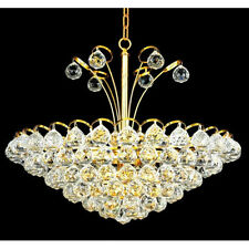 "Palace Blossom 22"" 8 Light Pendant Crystal Chandelier Light - Gold"