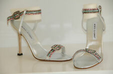 $1595 New MANOLO BLAHNIK JEWELED Blue Crystals Silver JANETBA SHOES 35.5 Wedding