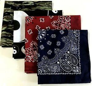 Paisley Pattern Bandana Head Neck Scarf Blue & Red Ying Yang  Camouflage Cotton