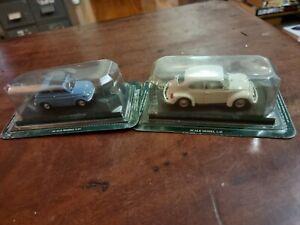 Del Prado 1:43 Scale - Fiat 500 - Light Blue - + VW Beetle Model Cars X2 used