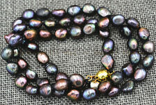 Charming! 9-10MM Black Akoya Freshwater Cultured Pearl Necklace Baroque 18 inch