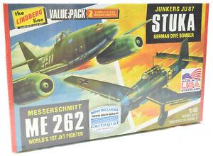 Lindberg Junkers Stuka & Messerschmitt MK 262 1:48 Model Airplane Kits HL508