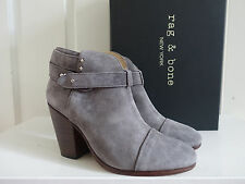 NIB $525 Rag & Bone Harrow Ankle Boots Grey Suede Bootie 36 6 5.5 Granite