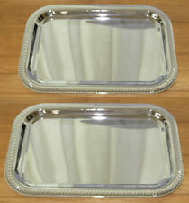 "2 NEW 9"" x 13"" RECTANGULAR CHROME TRAY W/ DECORATIVE EDGE"