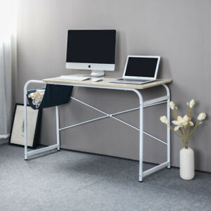 Computer Laptop Desk Workstation Study Writing Table Wooden Metal With Side Bag