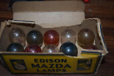 14 Antique EDISON MAZDA Tipped Colored Christmas Light Bulbs With boxes