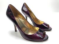 Enzo Angiolini Eamaylie Womesn's Size 6 M Heels Peep Toe Purple Metalic Leather