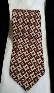 Brooks Brothers Tie  Burgundy Brown Gray Geometric 100% Silk Classic 56 Business