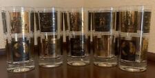 MCM Glasses 7 Wonders of the Ancient World Gold Black Bar Tumbler High Ball VTG