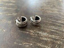 David Yurman Small Cable Classics Hoop Huggie Earrings Silver 925