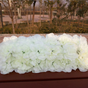10pcs White Rose Top Table Backdrop Walkway Flower Arrangement Runner