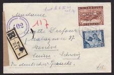 Austria 1946 Registered Censored Cover Zensurstelle 402 Wien to Geneva