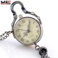 Vintage Crystal Glass Ball Pocket Watch Necklace Quartz Pendant Chain Gift Retro