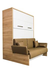 Schrankbett/Wandbett/Klappbett- Sofa WBS 1 Soft - 140 x 200 cm Weiß / Bardolino