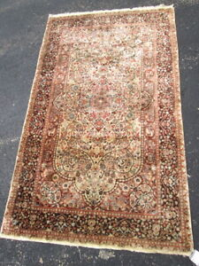 Antique Silk On Silk Tebreez Oriental Rug.