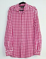 Hugo Boss Men's Pink Check Long Sleeve Slim Fit Button Up Shirt Size 42
