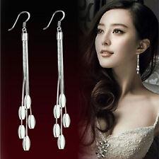 Women Fashion Silver Plated Drops Long Tassels Hook Dangle Earrings Jewelry LC