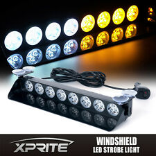 24 LED Emergency Windshield Light Traffic Advisor Strobe Flash White Amber