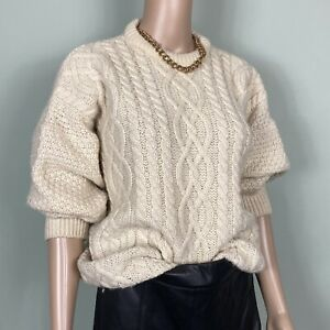 Vtg Cream pure New Wool Cable Chunky Oversize Fisherman Jumper Size L 12-16
