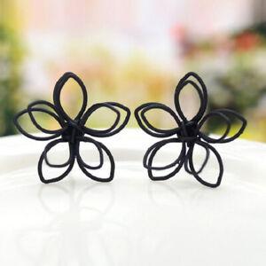 Stud Earring Black Plum Shape Elegant style Flower Earrings