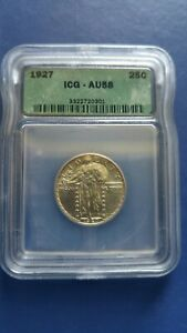 1927 US Standing Liberty Quarter Silver Coin ICG AU-58