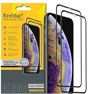 2 Pack Screen Protector Tempered Glass Full Cover iPhone11 12 XR XS Pro Max Mini