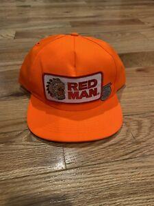 Red Man Vintage Snapback Hat Tobacco Mint Blaze Orange