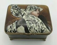 Limoges Rochard Studio Collection Footed Lady Trinket Box Numbered & Signed RARE