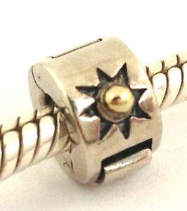 Authentic Chamilia Silver &14K Gold Ball Freedom Lock Clip Bead Charm MC-5, NEW