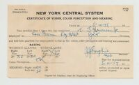 New York Central System Railroad Certificate of Vision & Hearing 1955 Vintage