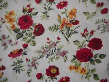 Lovely unused vintage 50's floral barkcloth fabric - 1 yard lengths, red roses