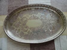More details for vintage silver plated on copper chased oval gallery tray viners sheffield 39cm