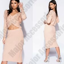 Ladies Twist Front Rib Knit Co Ord Set Skirt Long Sleeve Midi Waist Jumper Pink