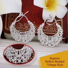 925 Sterling Silver Plated Vintage Castle Hollow Flower Hoop Woven Drop Earrings