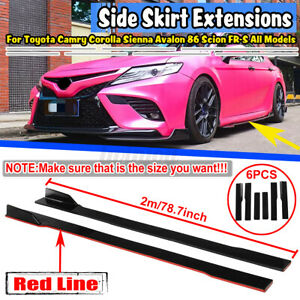 "For Toyota Camry SE XSE Sport 79"" Gloss Black + Red Side Skirts Rocker Panel"