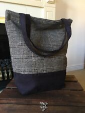 BEAUTIFUL BROWNISH GREEN AND BLACK TARTAN FAUX SUEDE SHOPPER BAG HAND CRAFTED